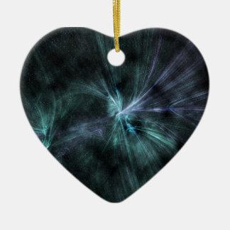 ¡Fractal verde y azul Wispy wow de las Adorno De Cerámica En Forma De Corazón