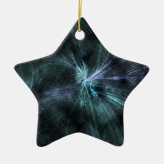 ¡Fractal verde y azul Wispy wow de las Adorno De Cerámica En Forma De Estrella