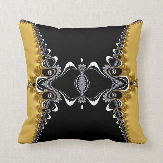 Fractal Waves Gold+Black Art Cushion