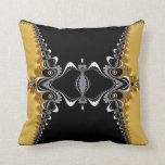 Fractal Waves Gold+Black Art Cushion Pillows