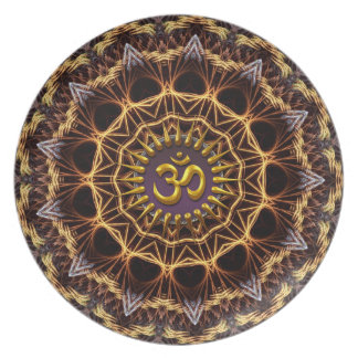 Fractal Weave Golden (Aum) Symbol Plate