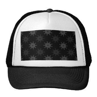 Fractal Wheel Pattern. Black and Gray Circles. Trucker Hat
