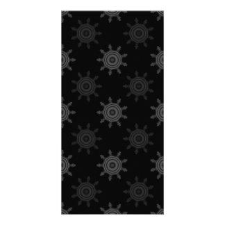 Fractal Wheel Pattern. Black and Gray Circles. Photo Card Template