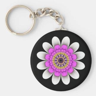 Fractal White Flower Power Keychain on Black