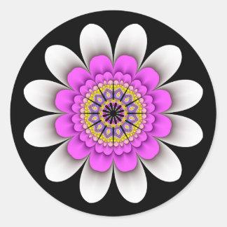 Fractal White Flower Power Stickers
