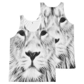 Fractal White Lion All-Over-Print Tank Top