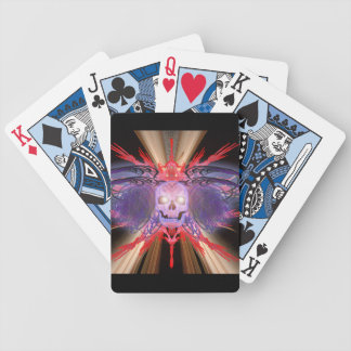 fractal winged skull bicycle playing cards