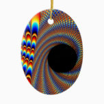 Fractal Wink Ceramic Ornament
