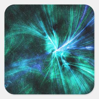 Fractal Wispy diseño azul/del verde Pegatina Cuadrada