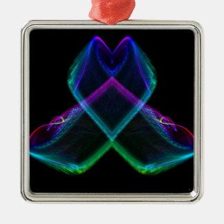 Fractal X del arco iris Adorno Cuadrado Plateado
