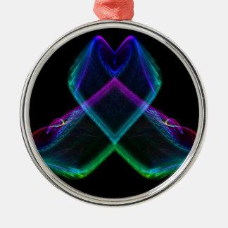 Fractal X del arco iris Adorno Redondo Plateado