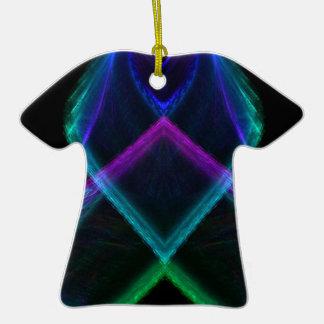 Fractal X del arco iris Adorno De Cerámica En Forma De Playera