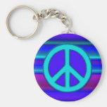Fractal y signo de la paz azules llavero redondo tipo pin