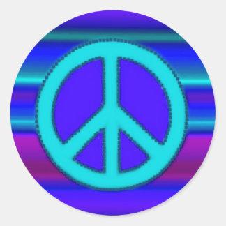 Fractal y signo de la paz azules pegatina redonda