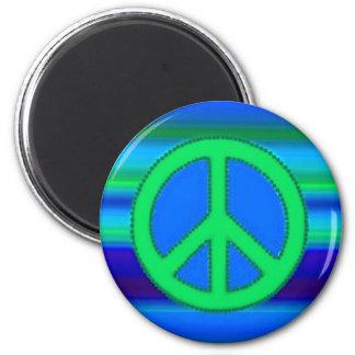 Fractal y signo de la paz del verde azul imán redondo 5 cm