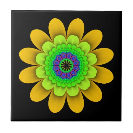 Fractal Yellow Flower Power Ceramic Tile