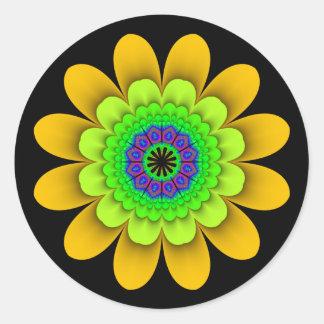 Fractal Yellow Flower Power Stickers