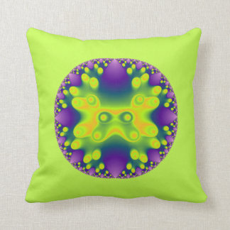 fractal yellow frog on greenish yellow throw pillow