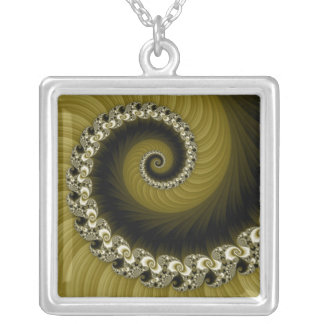 Fractal Yellow Spiral Necklace