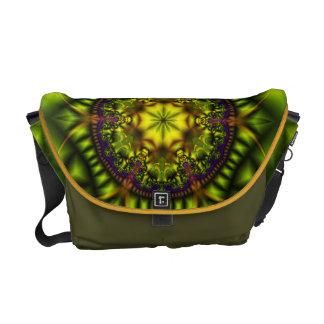 Fractales del caramelo del ojo - verde de Lotus Bolsas De Mensajeria