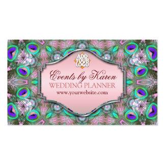 Fractales del pavo real que casan tarjetas de visi tarjetas de visita