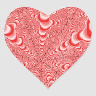 Fractales rosáceos en una perspectiva del pegatina en forma de corazón
