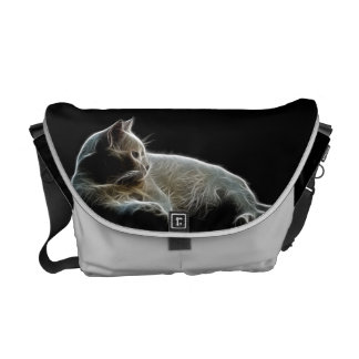 Fractalised image of a white cat messenger bag