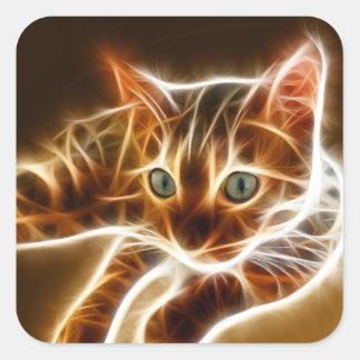 Fractalius Bengal Cat Square Sticker