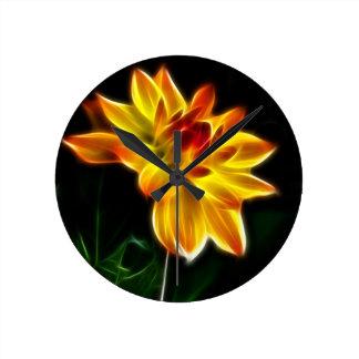 Fractalius Dahlia Round Clock