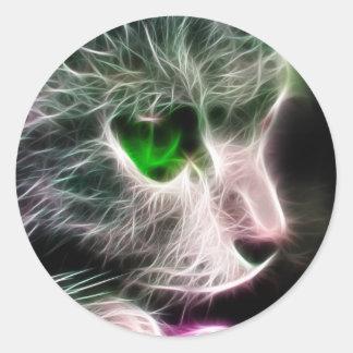 Fractalius Green Eyed Cat Classic Round Sticker