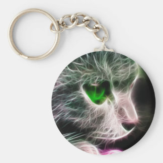 Fractalius Green Eyed Cat Key Chain