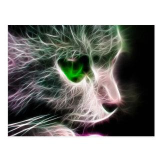 Fractalius Green Eyed Cat Postcard