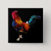 Fractalius Leghorn Rooster Button