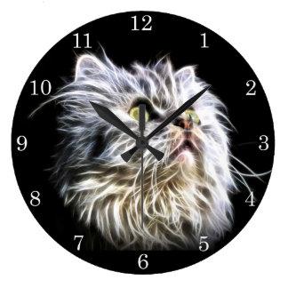 Fractalius Persian cat face Large Clock