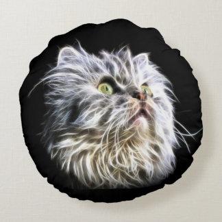 Fractalius persian cat face round pillow