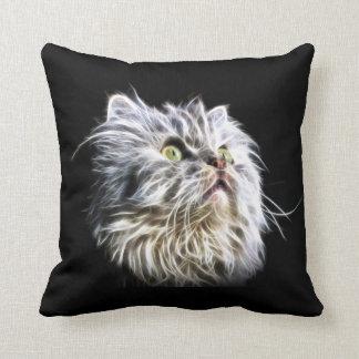 Fractalius persian cat face throw pillow