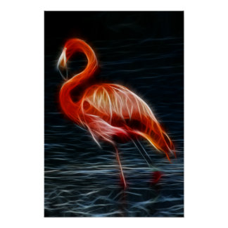 Fractalius Pink Flamingo Poster