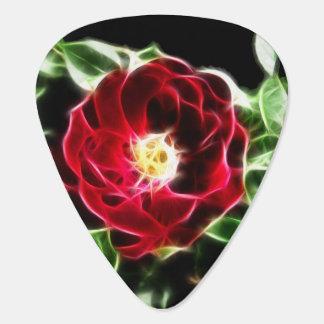 Fractalius red rose guitar pick