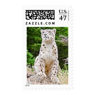 Fractalius Snow Leopard Postage Stamp