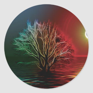 Fractalius Tree, Sky and River Classic Round Sticker