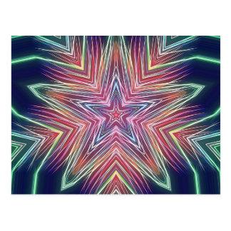 Fractalized Fireworks Star Kaleidoscope Postcard