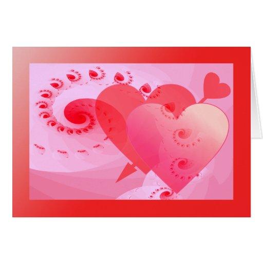 Fractally el suyo - corazones dobles tarjeta