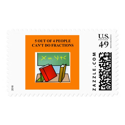 fraction math joke postage stamp