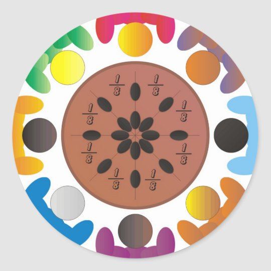 Fractions Classic Round Sticker