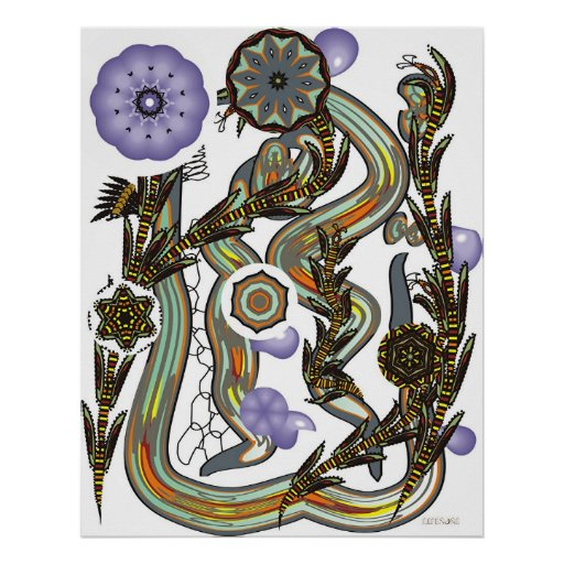 Fractoids y frondas de la flor póster