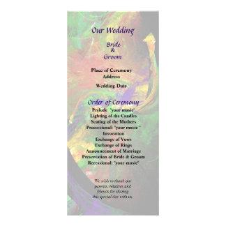 Fractrals - Peacock Wedding Program Personalized Rack Card