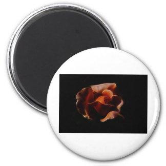 Fractualis color de rosa anaranjado imán redondo 5 cm