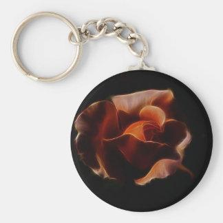 Fractualis color de rosa anaranjado llavero redondo tipo pin