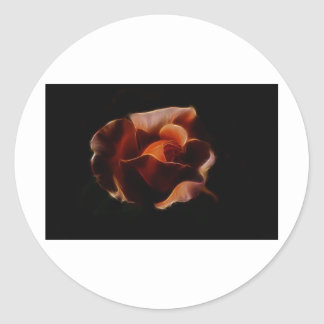 Fractualis color de rosa anaranjado pegatina redonda