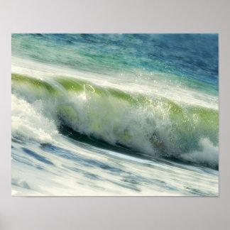 Fractura de la foto de la ola oceánica posters